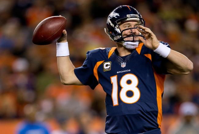 Peyton Manning eyes another trip to the AFC Championship Game.Source: bleacherreport.com