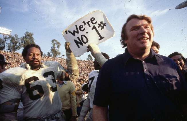 With offensive linemen like Hall of Famer - Gene Upshaw (left) blocking QB Ken Stabler, Raiders Coach John Madden directed Oakland to the 1976 Vince Lombardi Trophy.  Source: coacheshotseat.com