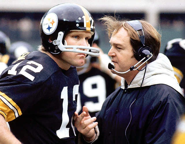 Chuck Noll is the only Head Coach in NFL History to win 4 Super Bowl Championships.  Terry Bradshaw was the Steelers QB for all of those World Titles. Source: sportsillustrated.cnn.com