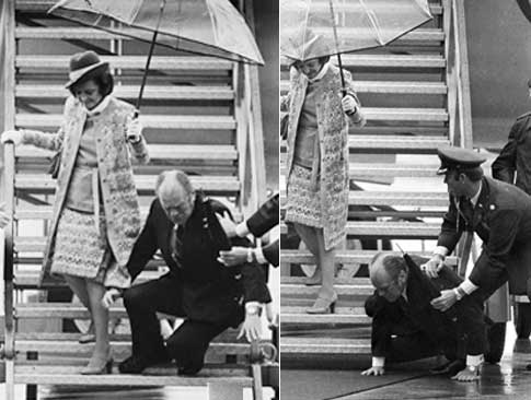 First Lady Betty with her husband, US President Gerald Ford, arriving on a business trip. source: newyorkdailynews.com